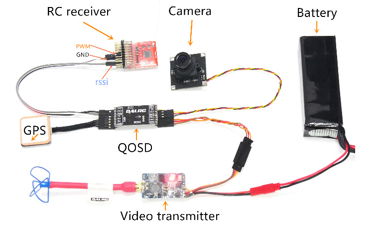QOSD On Screen Display with GPS Built in Compass Gyrocscope RSSI