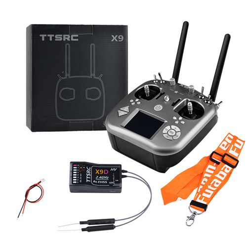 TTSRC X9 Remote Control 2.4G 9CH Transmitter & X9D Receiver for RC Airplane Racing Drone