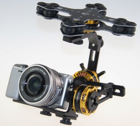 3-Axis Gimbal Kit + 4x 4108 Motors for Sony NEX ILDC for FPV