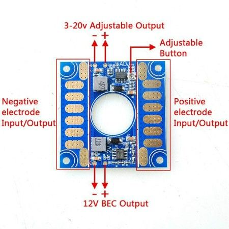 ESC Distribution 5V 12V Adjustable Voltage Dual BEC Output Board