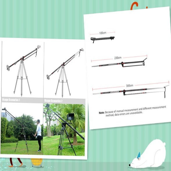 Foldable 230cm Camera Crane Jib load capacity is up to 10kg 100