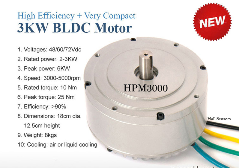 Hpm3000b High Power Bldc Motor 72v 3kw Liquid Cooling