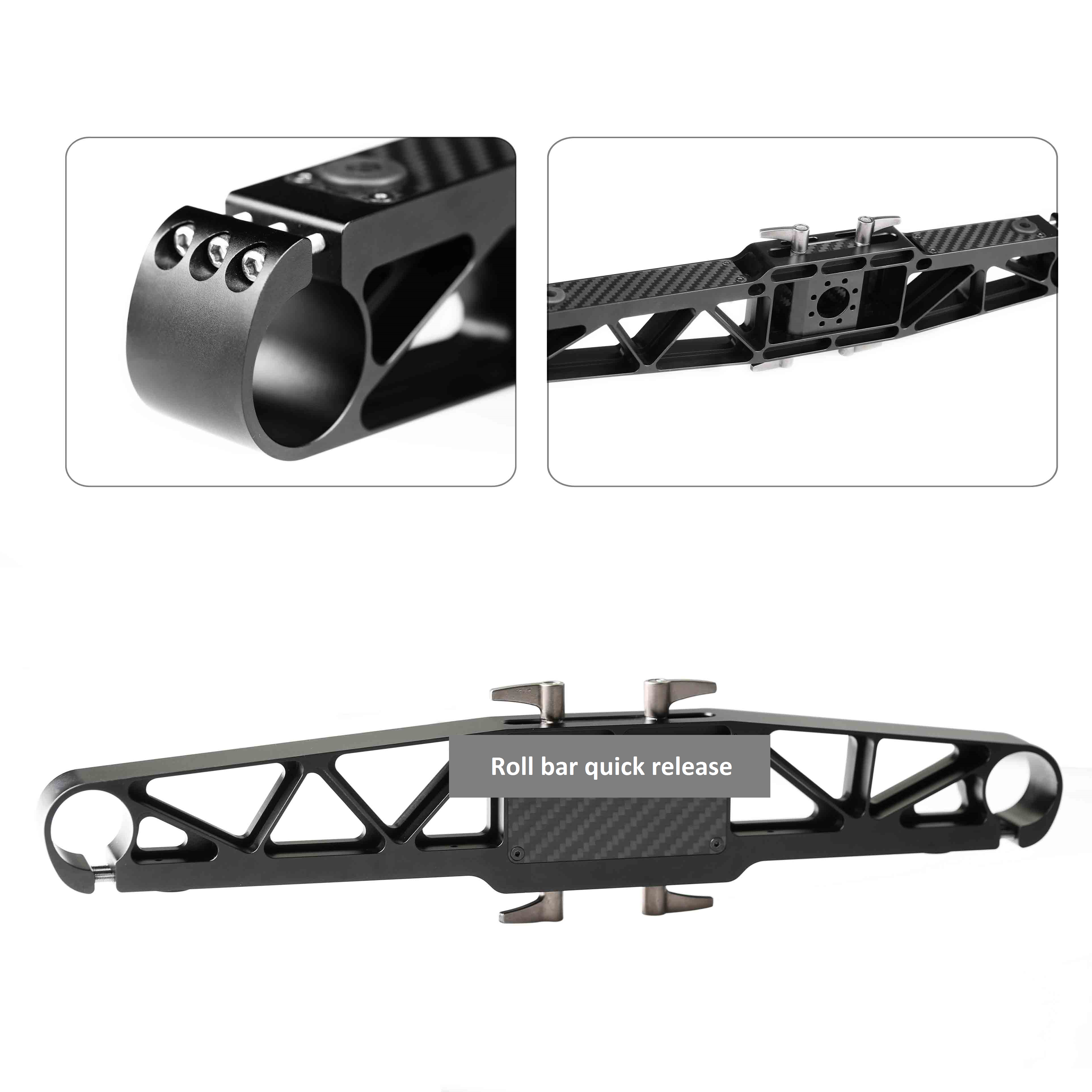 Quick release aluminum roll bar for brushless gimbal