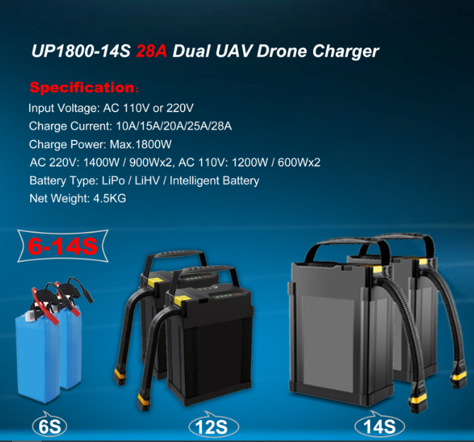 UP1800-14S 1800W 28A 6-14S LiPo/LiHV Battery UAV Drone Charger
